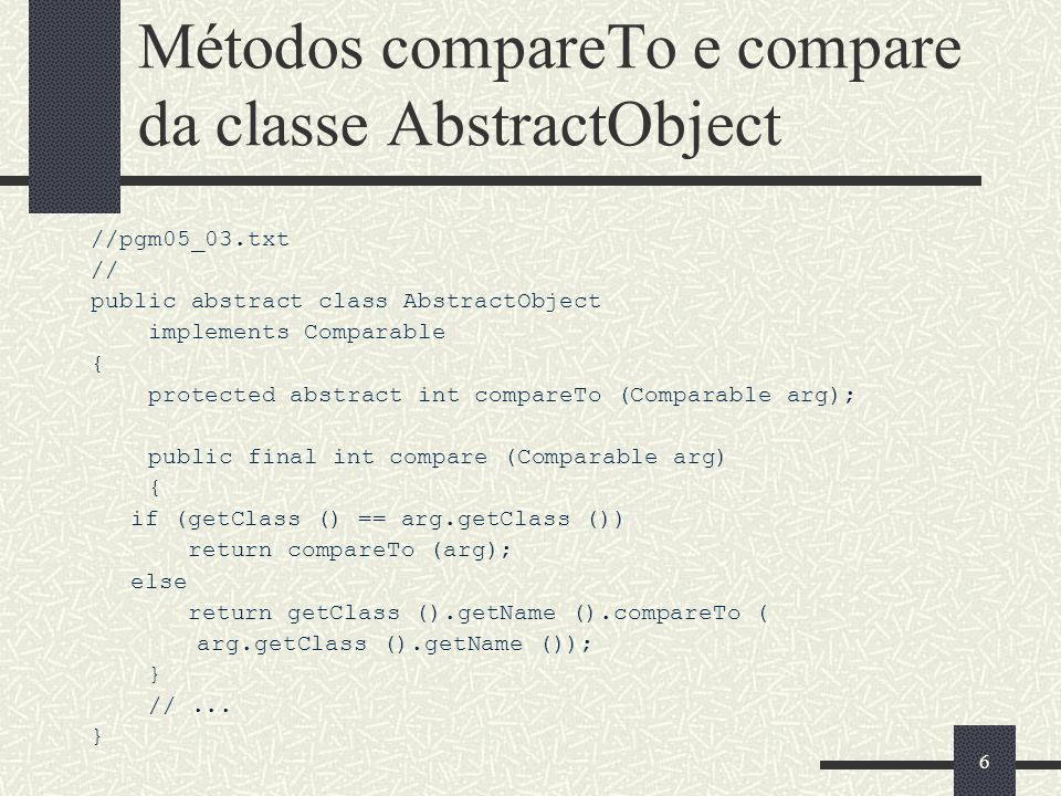 77 Classe Btree (2) Object& FindMin () const; Object& FindMax () const; Object& Key(unsigned int ); bool IsMember (Object const& obj) const { return ( Find(obj) != NullObject::Instance() ); }; int CompareTo (Object const&) const { return 0; }; HashValue Hash () const { return 0; }; void Put (std::ostream&) const {}; protected: void Concatenation (int index); public: BTree (unsigned int); BTree (unsigned int, BTree&); void Insert (Object&); void Withdraw (Object&); };