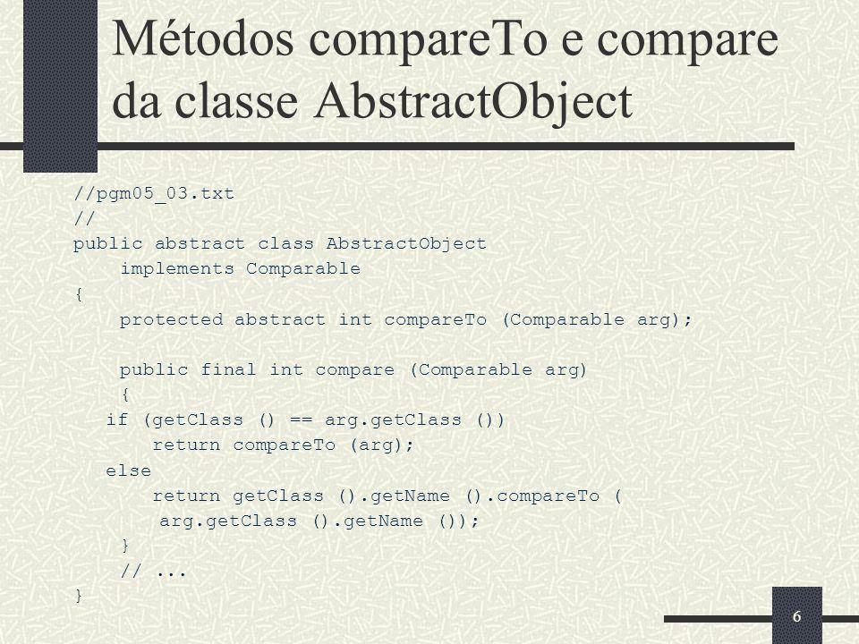 67 Declaração da Classe SearchTree // pgm10_01.cpp class SearchTree : public virtual Tree, public virtual SearchableContainer { public: virtual Object& FindMin () const = 0; virtual Object& FindMax () const = 0; };