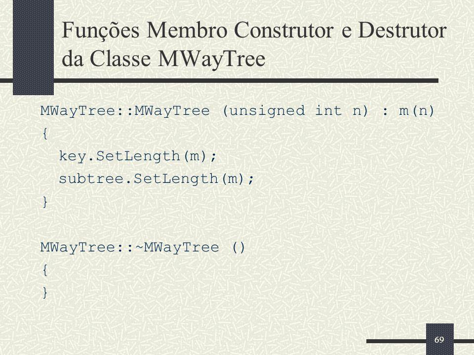 69 Funções Membro Construtor e Destrutor da Classe MWayTree MWayTree::MWayTree (unsigned int n) : m(n) { key.SetLength(m); subtree.SetLength(m); } MWayTree::~MWayTree () { }