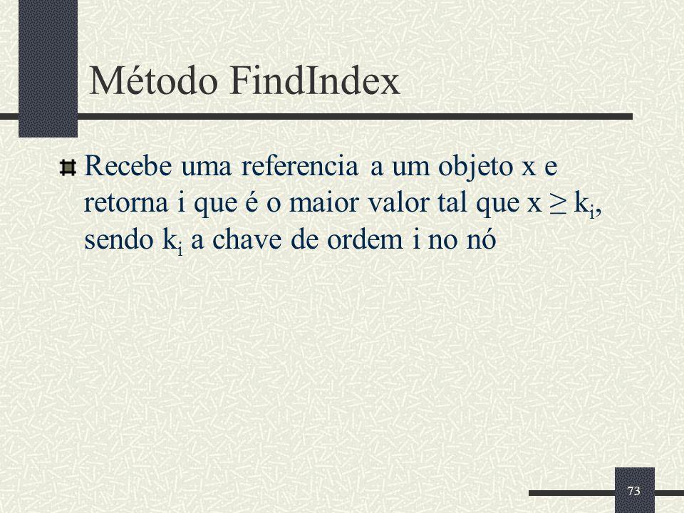 73 Método FindIndex Recebe uma referencia a um objeto x e retorna i que é o maior valor tal que x k i, sendo k i a chave de ordem i no nó