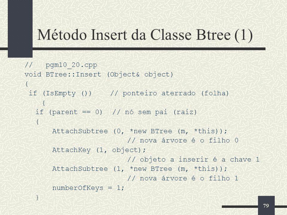 79 Método Insert da Classe Btree (1) // pgm10_20.cpp void BTree::Insert (Object& object) { if (IsEmpty ()) // ponteiro aterrado (folha) { if (parent == 0) // nó sem pai (raiz) { AttachSubtree (0, *new BTree (m, *this)); // nova árvore é o filho 0 AttachKey (1, object); // objeto a inserir é a chave 1 AttachSubtree (1, *new BTree (m, *this)); // nova árvore é o filho 1 numberOfKeys = 1; }