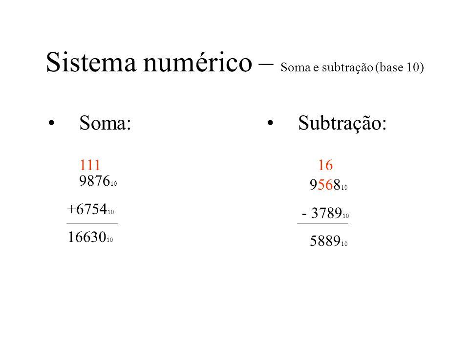 Sistema numérico – Soma e subtração (base 10) Soma: 9876 10 +6754 10 16630 10 Subtração: 9568 10 - 3789 10 5889 10 11116