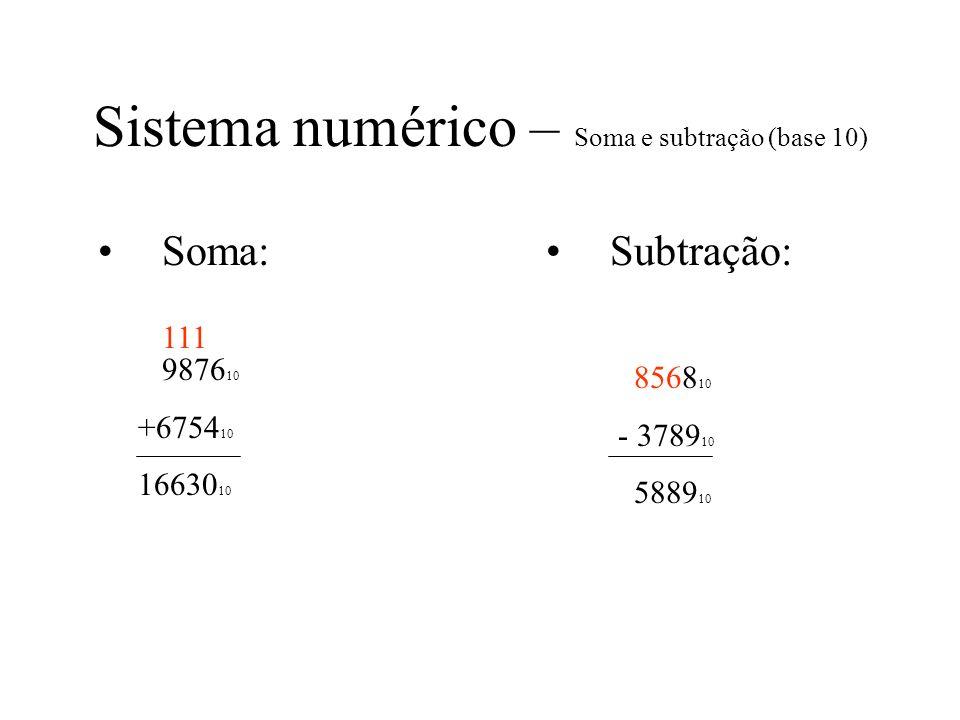 Sistema numérico – Soma e subtração (base 10) Soma: 9876 10 +6754 10 16630 10 Subtração: 8568 10 - 3789 10 5889 10 111