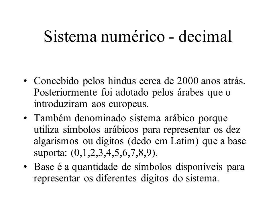 Sistema numérico – representação Exemplos: 1)426 10 = 4 x 10 2 + 2 x 10 1 + 6 x 10 0 = 426 10 2)4303 5 = 4 x 5 3 + 3 x 5 2 + 3 = 578 10 3)4303 16 = 4 x 16 3 + 3 x 16 2 + 3 = 17155 10 4)21022 3 = 2 x 3 4 + 1 x 3 3 + 2 x 3 + 2 = 197 10 5)1011010 2 = 1 x 2 6 + 1 x 2 4 + 1 x 2 3 + 1 x 2 = 90 10 6)ABC 16 = 10 x 16 2 + 11 x 16 + 12 = 2748 10 7)ABG 16 = não é possível a representação na base 16.