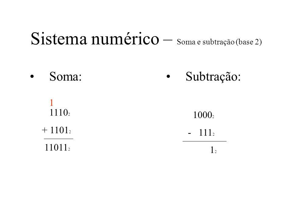 Sistema numérico – Soma e subtração (base 2) Soma: 1110 2 + 1101 2 11011 2 Subtração: 1000 2 - 111 2 1 2 1