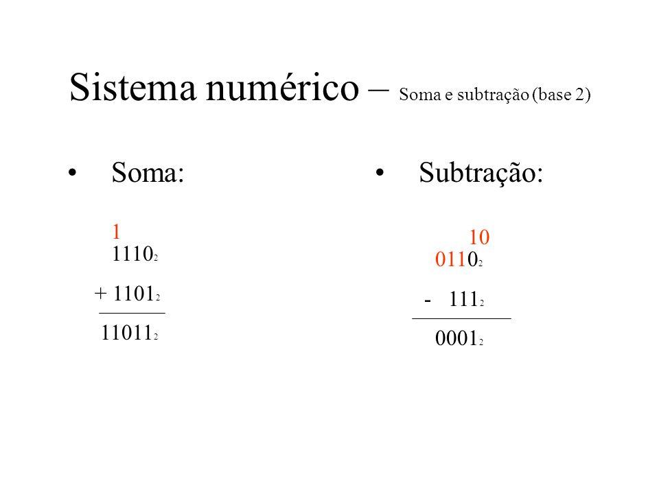 Sistema numérico – Soma e subtração (base 2) Soma: 1110 2 + 1101 2 11011 2 Subtração: 0110 2 - 111 2 0001 2 1 10