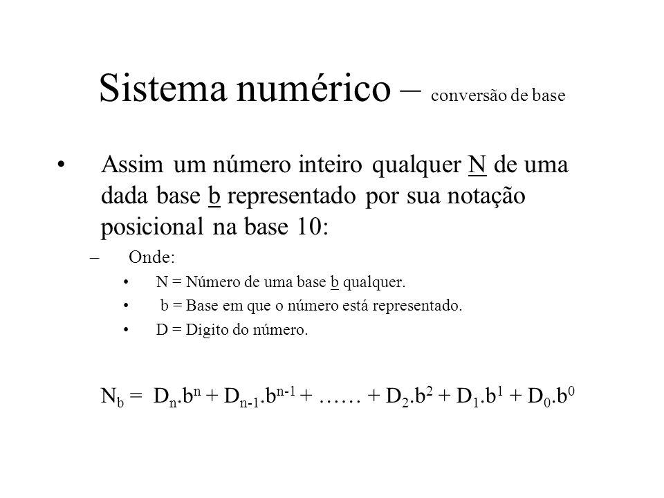 Sistema numérico – conversão de base Assim um número inteiro qualquer N de uma dada base b representado por sua notação posicional na base 10: –Onde: