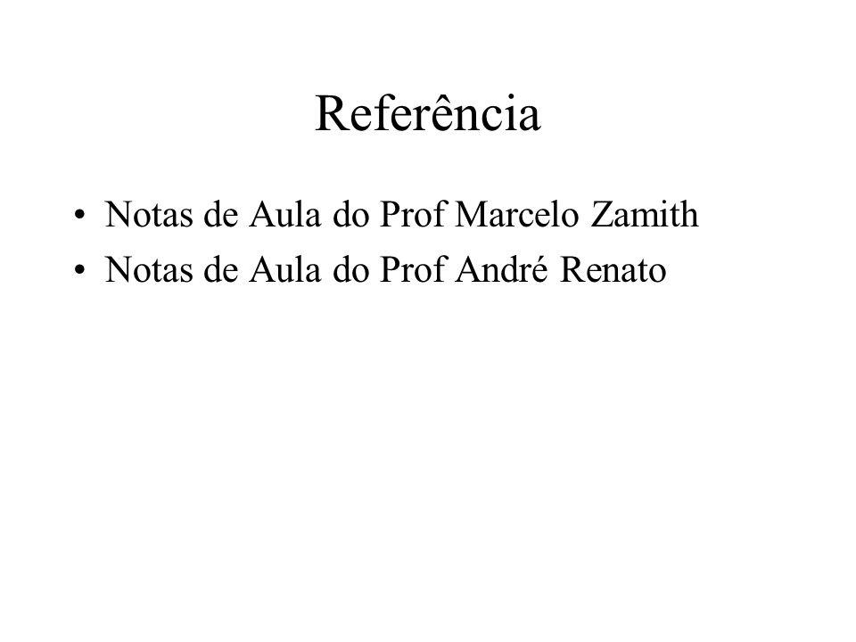 Referência Notas de Aula do Prof Marcelo Zamith Notas de Aula do Prof André Renato