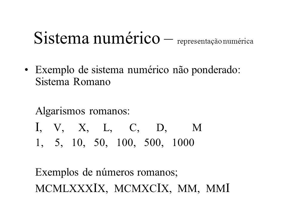 Sistema numérico – representação de bases Outras bases ponderadas utilizando os mesmos símbolos arábicos: Exemplos: Base 3: 0,1,2,10,11,12,20,21,22,100,101,102,110…