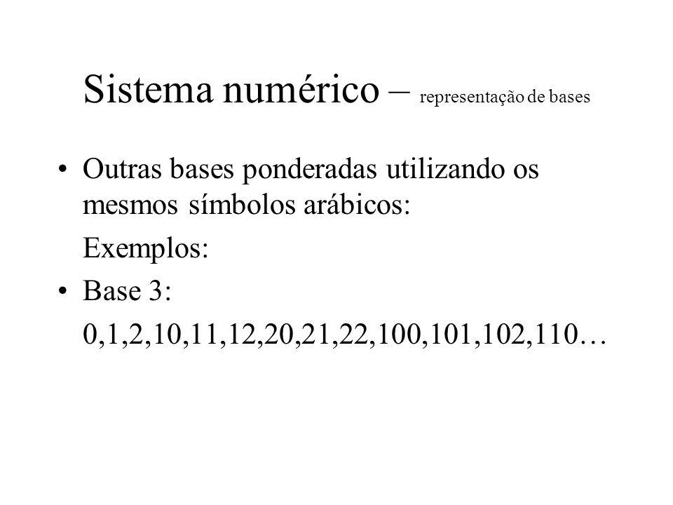 Sistema numérico – representação de bases Outras bases ponderadas utilizando os mesmos símbolos arábicos: Exemplos: Base 3: 0,1,2,10,11,12, 20,21,22,100, 101,102,110…(base 3) 0,1,2, 3, 4, 5, 6, 7, 8, 9, 10, 11, 12….(base10)
