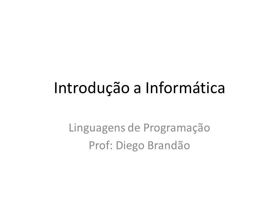 Introdução a Informática Linguagens de Programação Prof: Diego Brandão