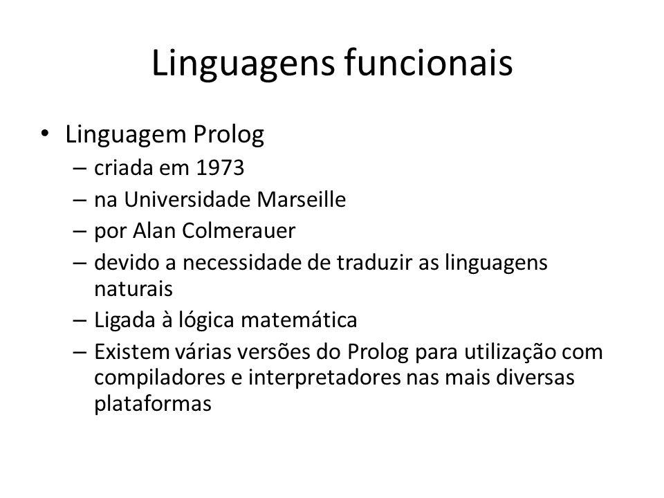 Linguagens funcionais Linguagem Prolog – criada em 1973 – na Universidade Marseille – por Alan Colmerauer – devido a necessidade de traduzir as lingua
