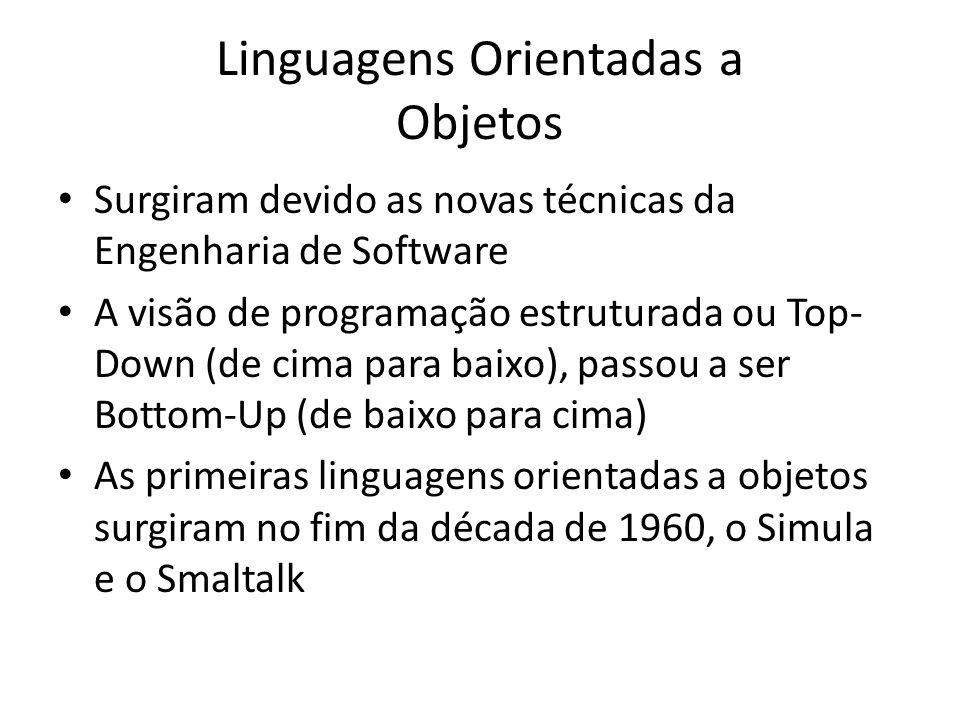 Linguagens Orientadas a Objetos Surgiram devido as novas técnicas da Engenharia de Software A visão de programação estruturada ou Top- Down (de cima p