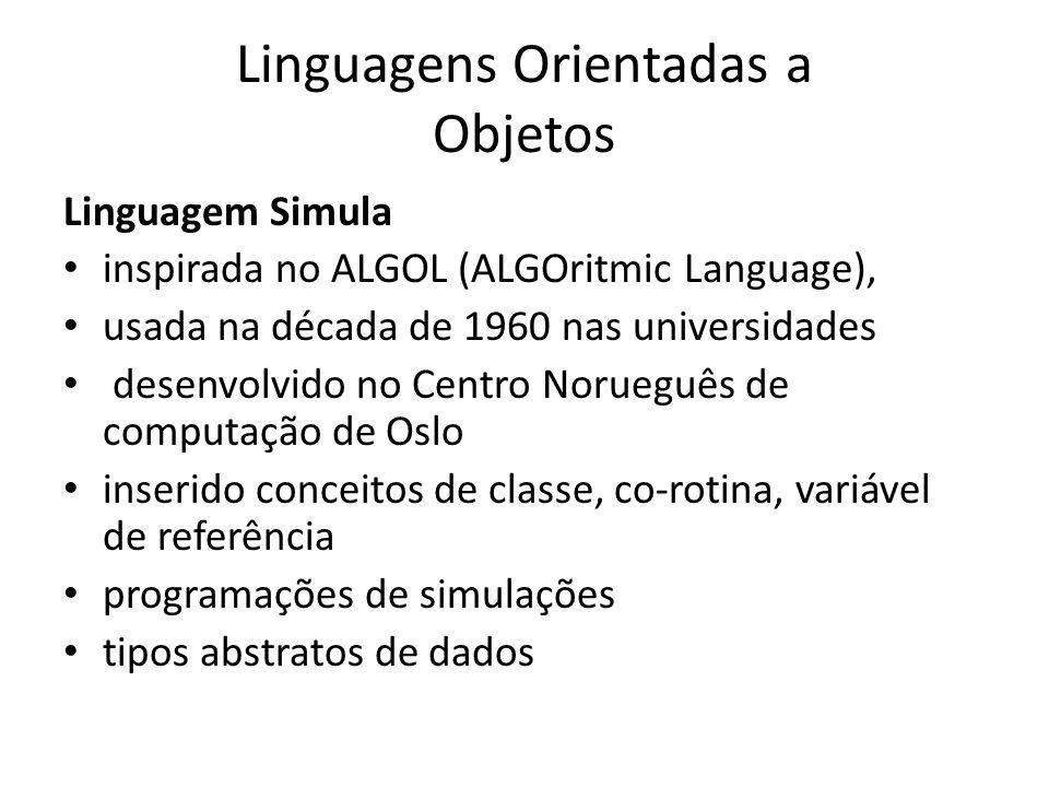 Linguagens Orientadas a Objetos Linguagem Simula inspirada no ALGOL (ALGOritmic Language), usada na década de 1960 nas universidades desenvolvido no C