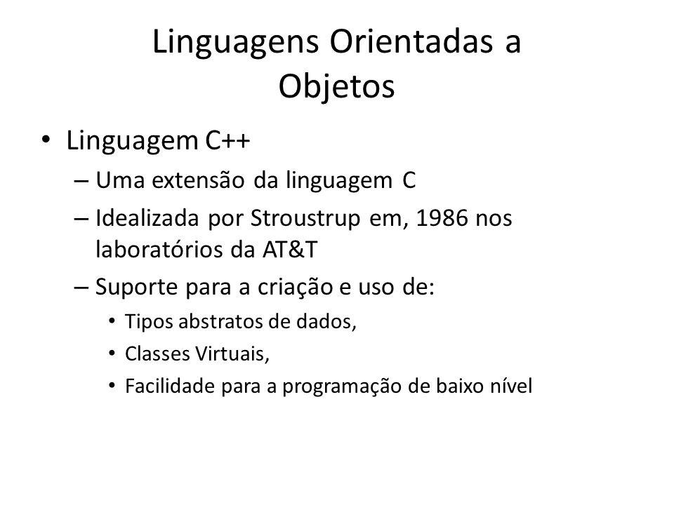 Linguagens Orientadas a Objetos Linguagem C++ – Uma extensão da linguagem C – Idealizada por Stroustrup em, 1986 nos laboratórios da AT&T – Suporte pa