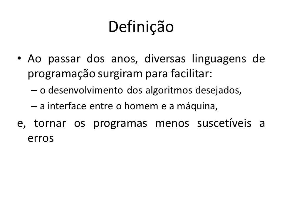 Definição Ao passar dos anos, diversas linguagens de programação surgiram para facilitar: – o desenvolvimento dos algoritmos desejados, – a interface
