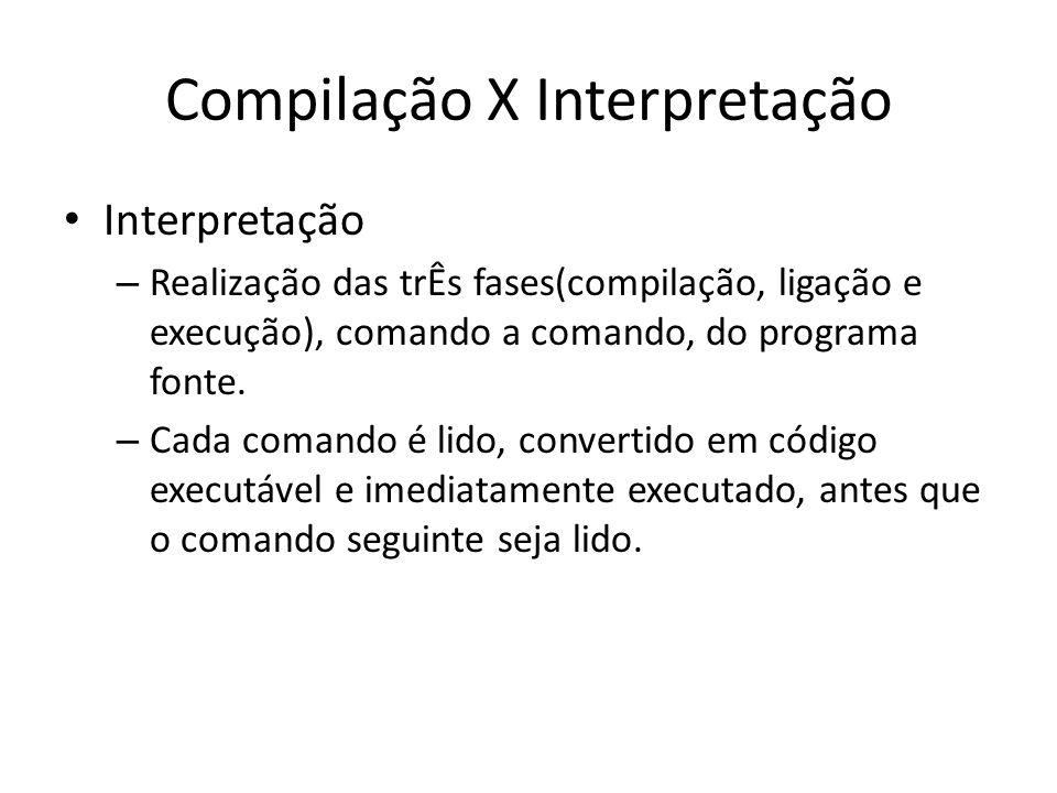Compilação X Interpretação Interpretação – Realização das trÊs fases(compilação, ligação e execução), comando a comando, do programa fonte. – Cada com