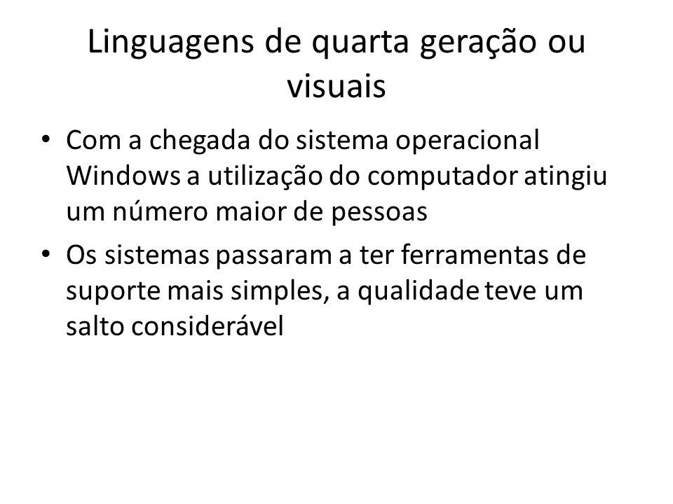 Linguagens de quarta geração ou visuais Com a chegada do sistema operacional Windows a utilização do computador atingiu um número maior de pessoas Os