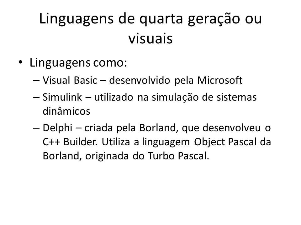 Linguagens de quarta geração ou visuais Linguagens como: – Visual Basic – desenvolvido pela Microsoft – Simulink – utilizado na simulação de sistemas