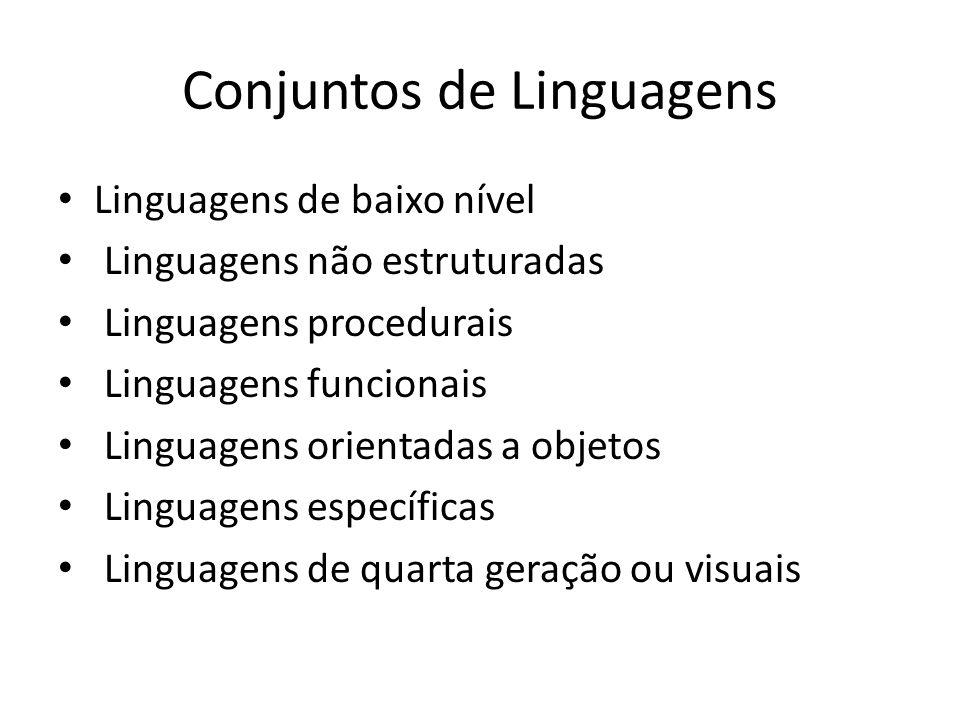 Conjuntos de Linguagens Linguagens de baixo nível Linguagens não estruturadas Linguagens procedurais Linguagens funcionais Linguagens orientadas a obj