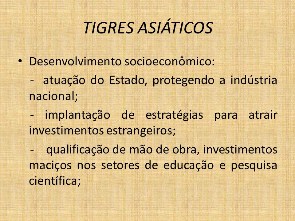 TIGRES ASIÁTICOS Desenvolvimento socioeconômico: - atuação do Estado, protegendo a indústria nacional; - implantação de estratégias para atrair invest