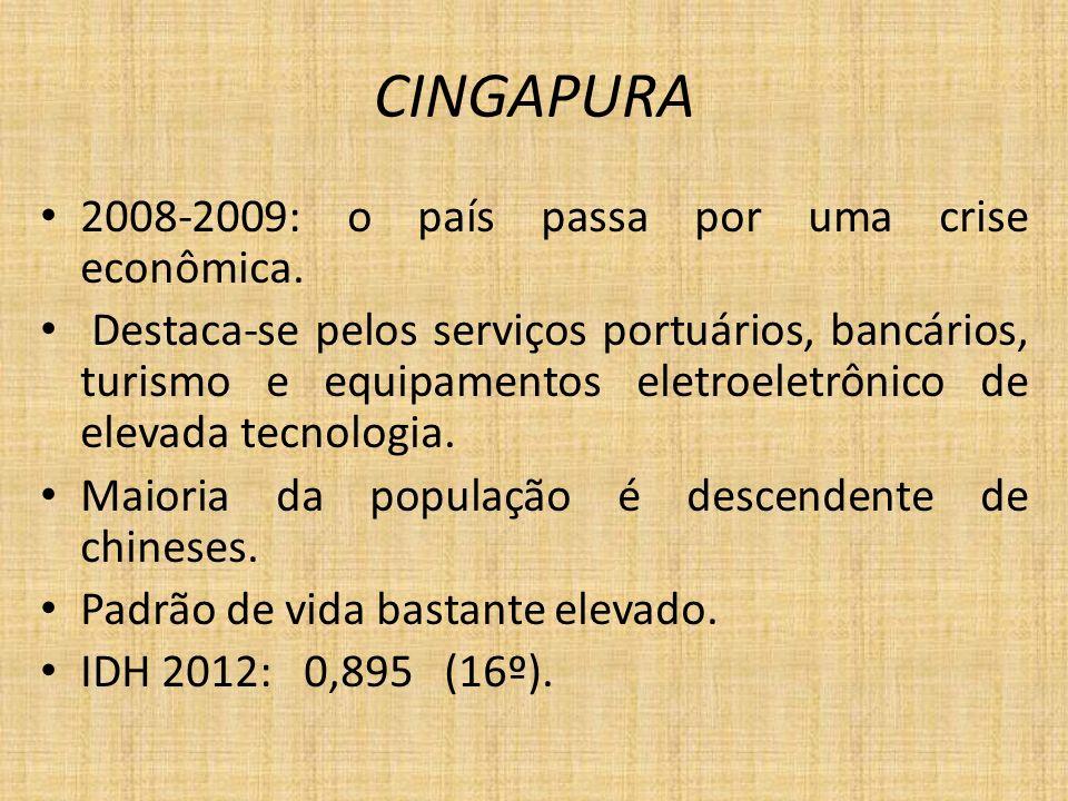 CINGAPURA 2008-2009: o país passa por uma crise econômica. Destaca-se pelos serviços portuários, bancários, turismo e equipamentos eletroeletrônico de