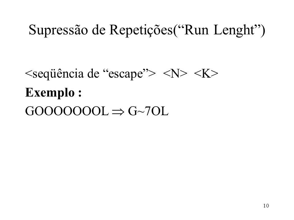 10 Supressão de Repetições(Run Lenght) Exemplo : GOOOOOOOL G~7OL