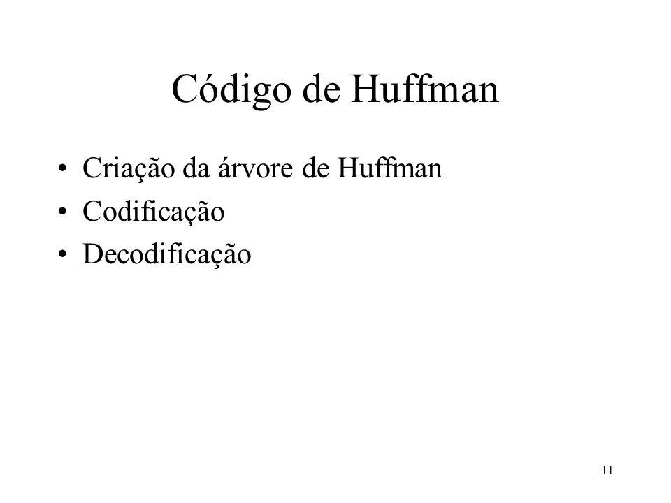 11 Código de Huffman Criação da árvore de Huffman Codificação Decodificação