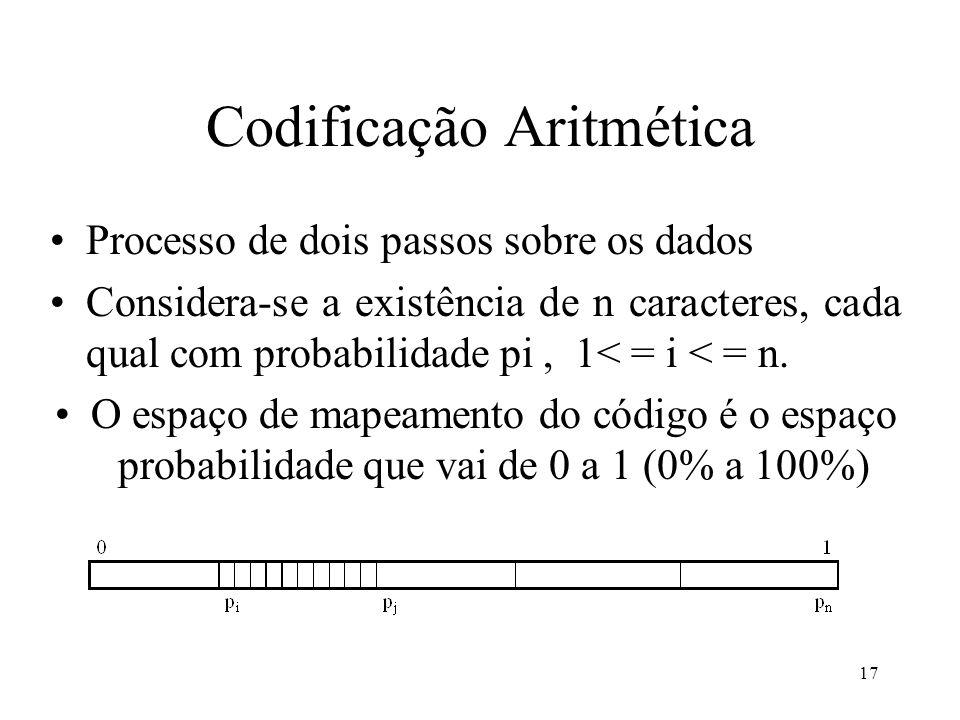17 Codificação Aritmética Processo de dois passos sobre os dados Considera-se a existência de n caracteres, cada qual com probabilidade pi, 1< = i < =