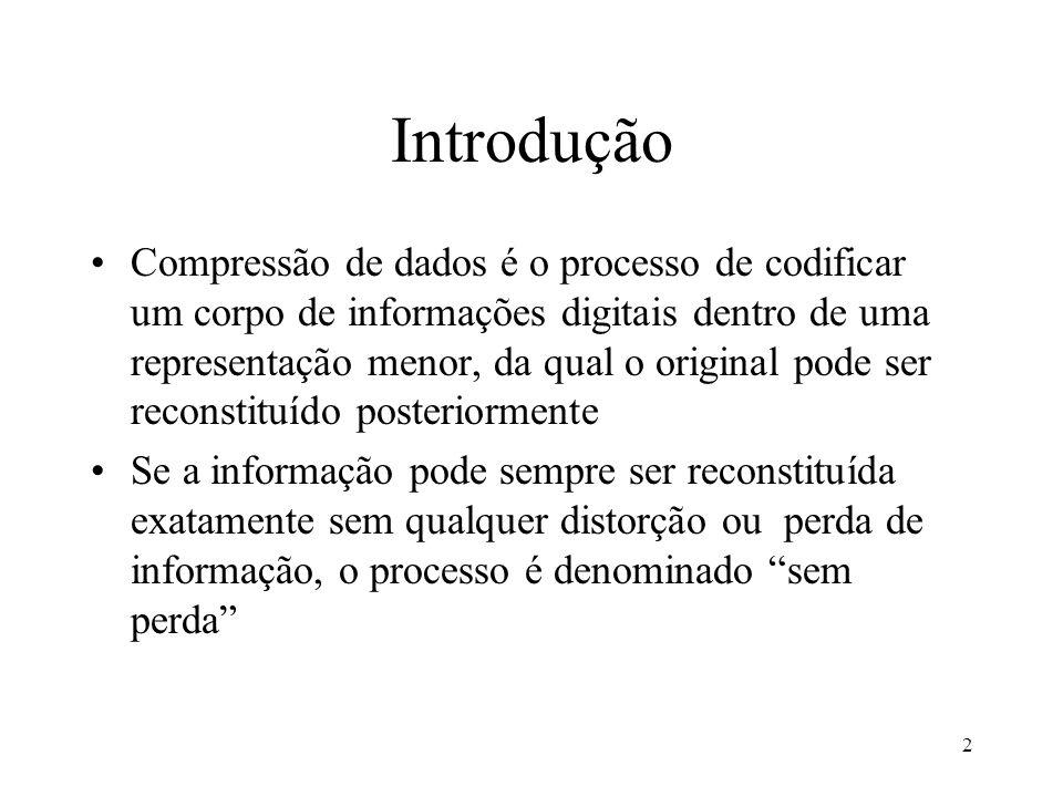 2 Introdução Compressão de dados é o processo de codificar um corpo de informações digitais dentro de uma representação menor, da qual o original pode