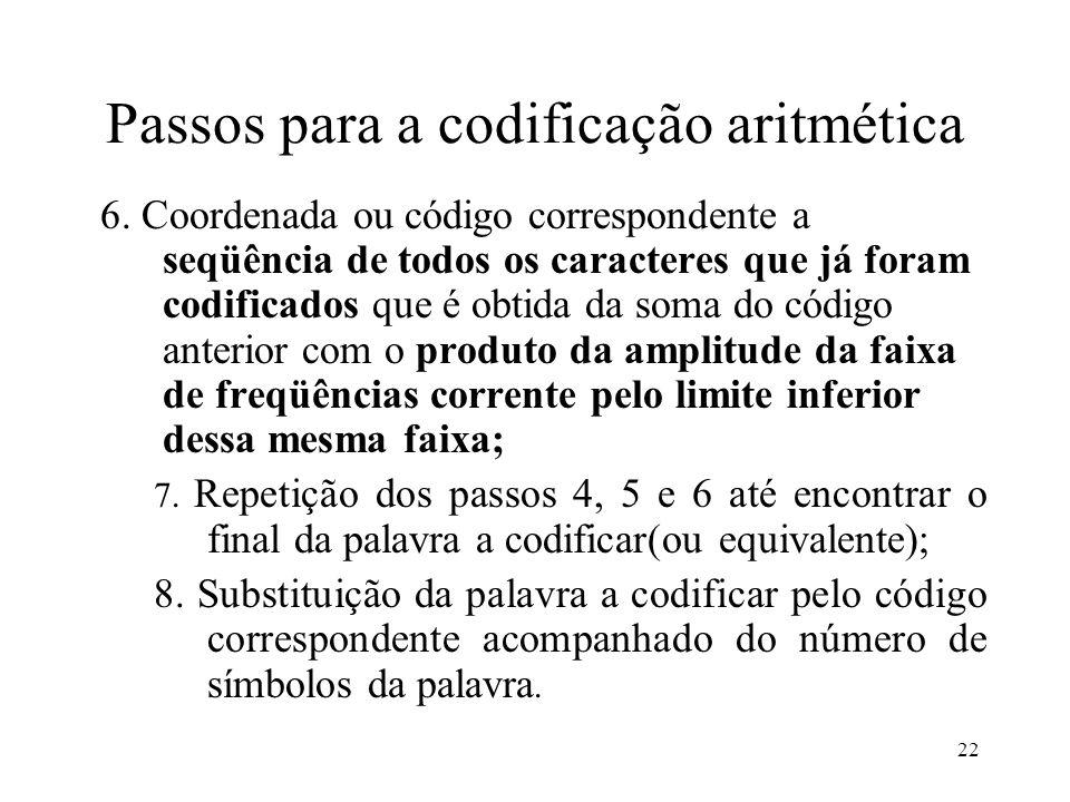 22 Passos para a codificação aritmética 6. Coordenada ou código correspondente a seqüência de todos os caracteres que já foram codificados que é obtid