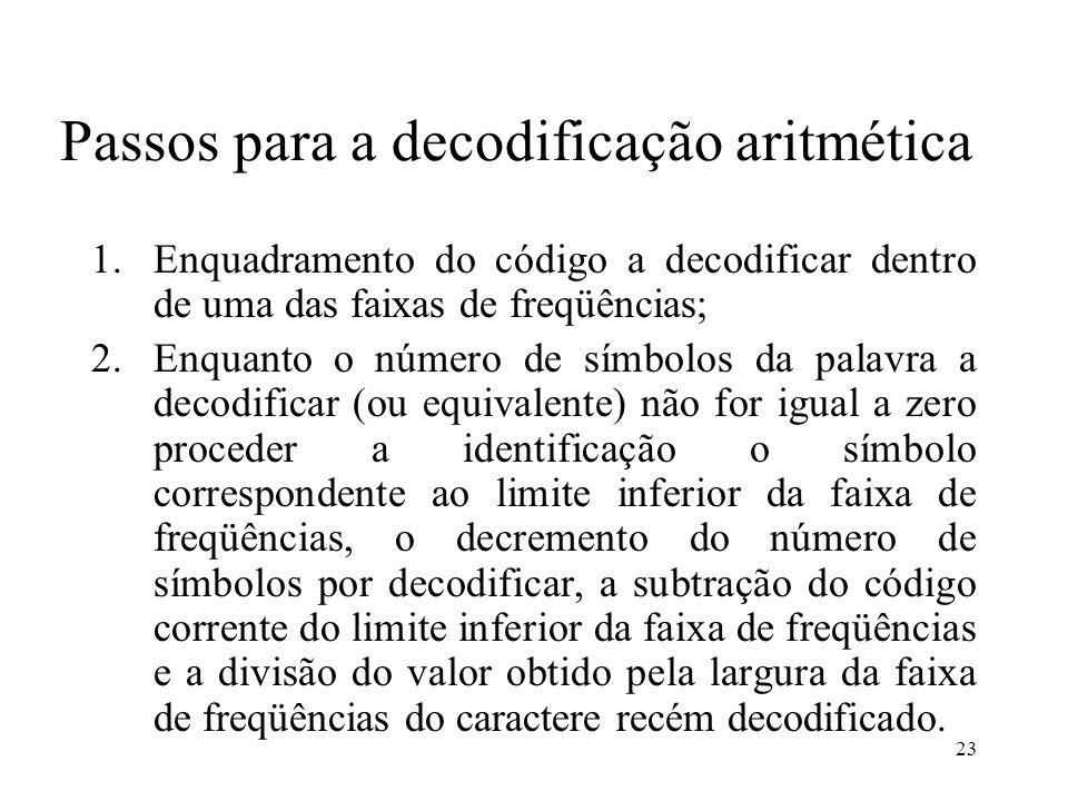 23 Passos para a decodificação aritmética 1.Enquadramento do código a decodificar dentro de uma das faixas de freqüências; 2.Enquanto o número de símb