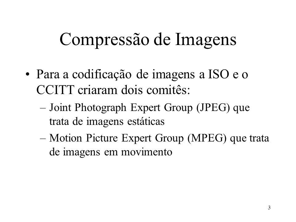 3 Compressão de Imagens Para a codificação de imagens a ISO e o CCITT criaram dois comitês: –Joint Photograph Expert Group (JPEG) que trata de imagens