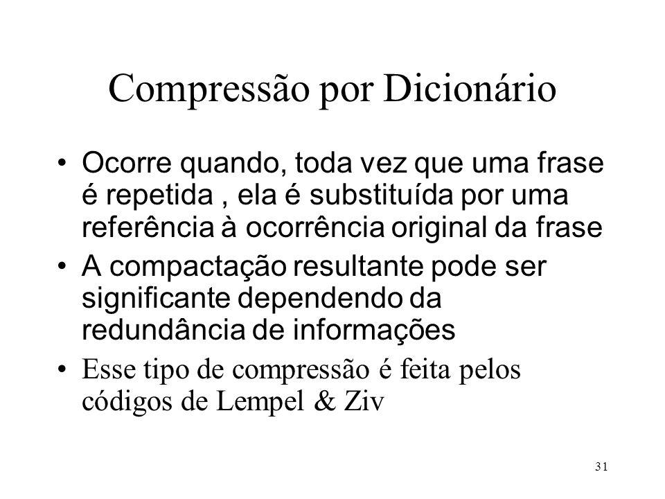 31 Compressão por Dicionário Ocorre quando, toda vez que uma frase é repetida, ela é substituída por uma referência à ocorrência original da frase A c
