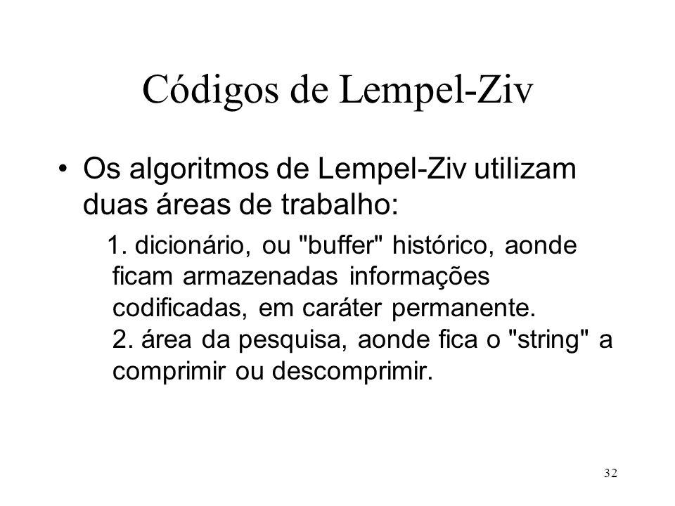 32 Códigos de Lempel-Ziv Os algoritmos de Lempel-Ziv utilizam duas áreas de trabalho: 1. dicionário, ou