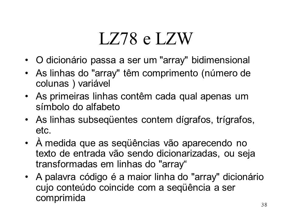 38 LZ78 e LZW O dicionário passa a ser um