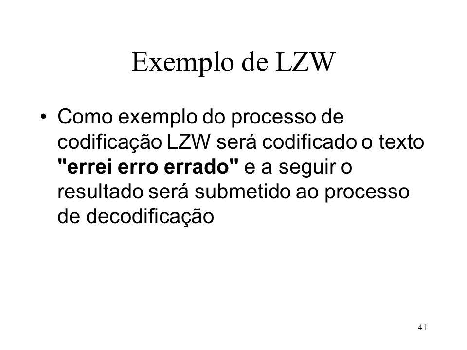 41 Exemplo de LZW Como exemplo do processo de codificação LZW será codificado o texto