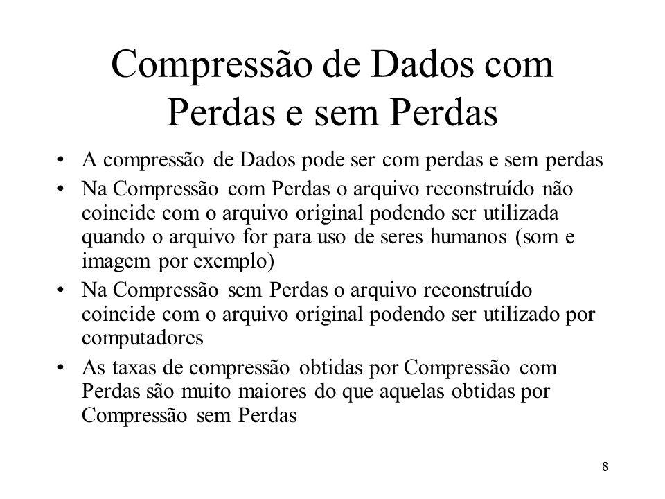 8 Compressão de Dados com Perdas e sem Perdas A compressão de Dados pode ser com perdas e sem perdas Na Compressão com Perdas o arquivo reconstruído n