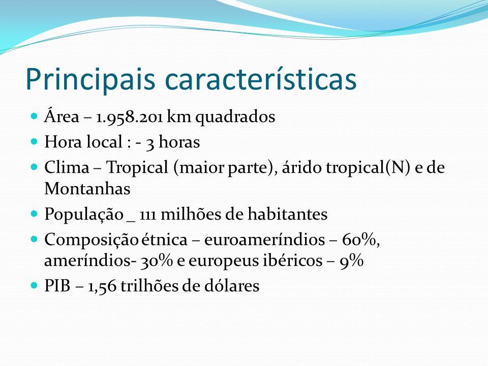 Principais características Área – 1.958.201 km quadrados Hora local : - 3 horas Clima – Tropical (maior parte), árido tropical(N) e de Montanhas População _ 111 milhões de habitantes Composição étnica – euroameríndios – 60%, ameríndios- 30% e europeus ibéricos – 9% PIB – 1,56 trilhões de dólares