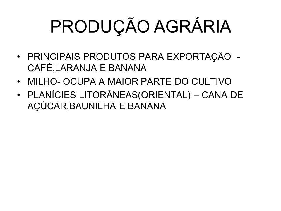 PRODUÇÃO AGRÁRIA PRINCIPAIS PRODUTOS PARA EXPORTAÇÃO - CAFÉ,LARANJA E BANANA MILHO- OCUPA A MAIOR PARTE DO CULTIVO PLANÍCIES LITORÂNEAS(ORIENTAL) – CANA DE AÇÚCAR,BAUNILHA E BANANA