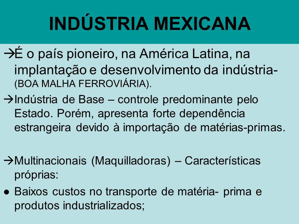 INDÚSTRIA MEXICANA É o país pioneiro, na América Latina, na implantação e desenvolvimento da indústria- (BOA MALHA FERROVIÁRIA).