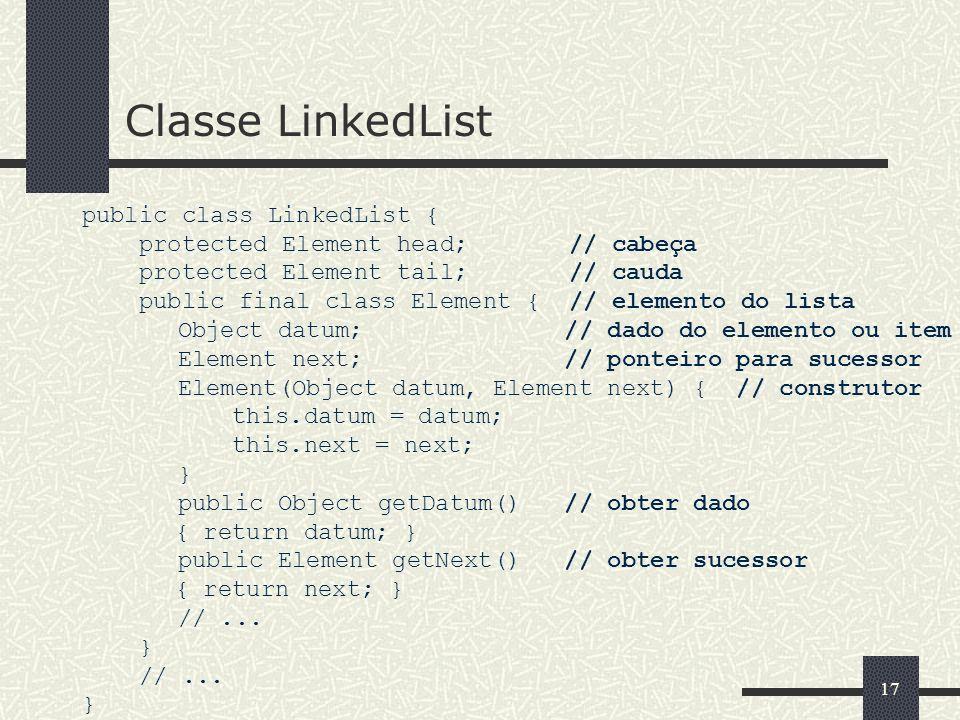 17 Classe LinkedList public class LinkedList { protected Element head; // cabeça protected Element tail; // cauda public final class Element { // elem