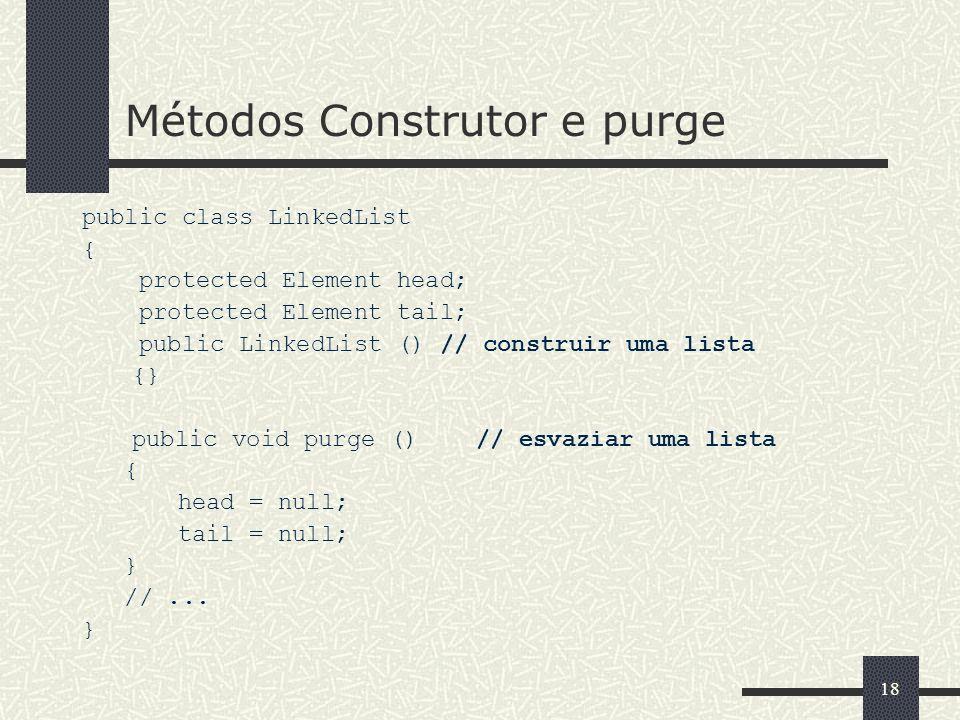 18 Métodos Construtor e purge public class LinkedList { protected Element head; protected Element tail; public LinkedList () // construir uma lista {}