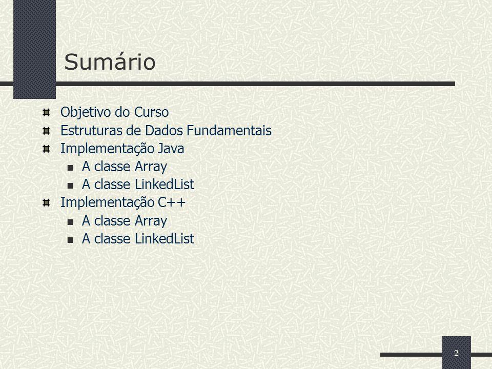2 Sumário Objetivo do Curso Estruturas de Dados Fundamentais Implementação Java A classe Array A classe LinkedList Implementação C++ A classe Array A