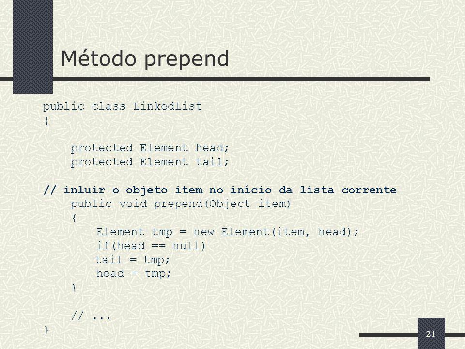 21 Método prepend public class LinkedList { protected Element head; protected Element tail; // inluir o objeto item no início da lista corrente public