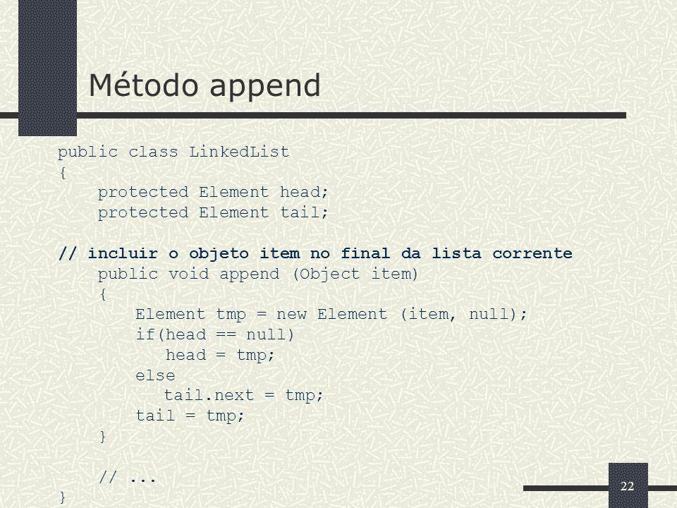 22 Método append public class LinkedList { protected Element head; protected Element tail; // incluir o objeto item no final da lista corrente public
