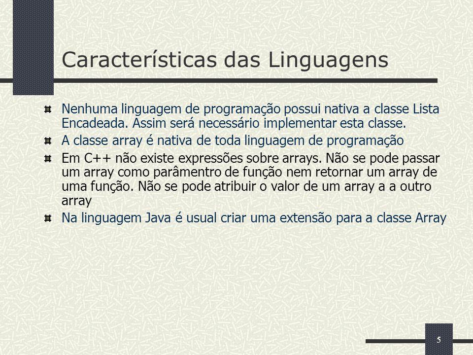 5 Características das Linguagens Nenhuma linguagem de programação possui nativa a classe Lista Encadeada. Assim será necessário implementar esta class