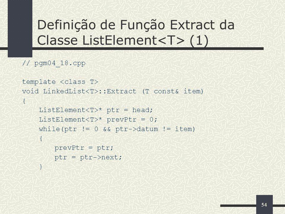 54 Definição de Função Extract da Classe ListElement (1) // pgm04_18.cpp template void LinkedList ::Extract (T const& item) { ListElement * ptr = head