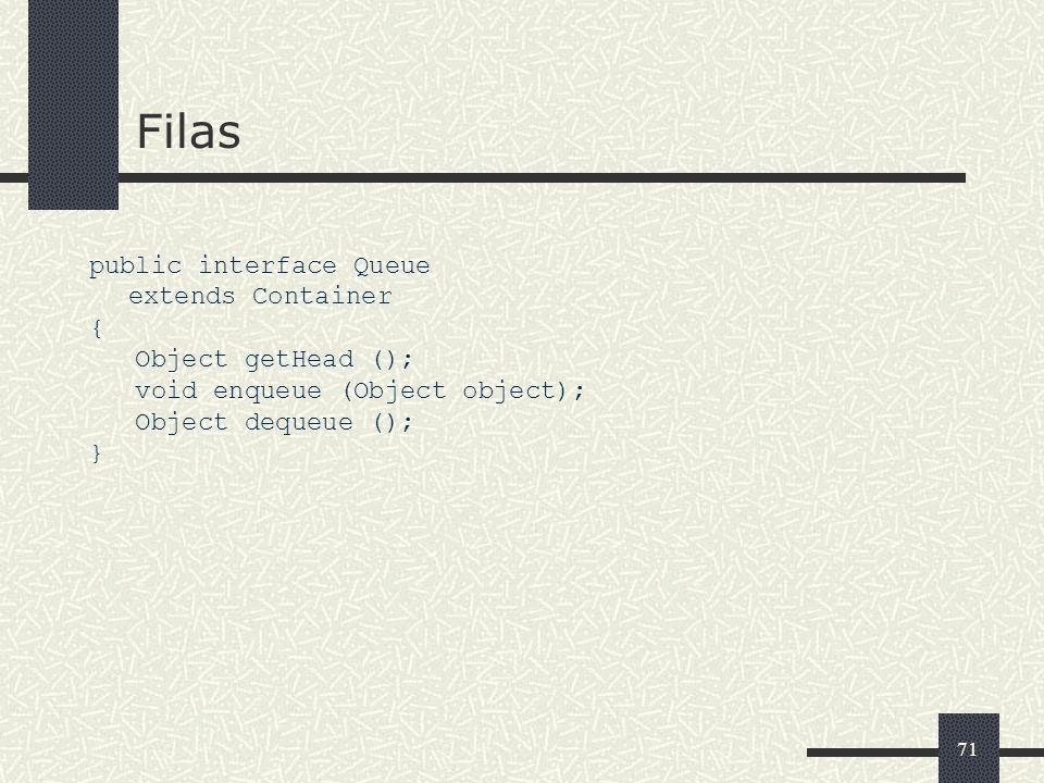 71 Filas public interface Queue extends Container { Object getHead (); void enqueue (Object object); Object dequeue (); }