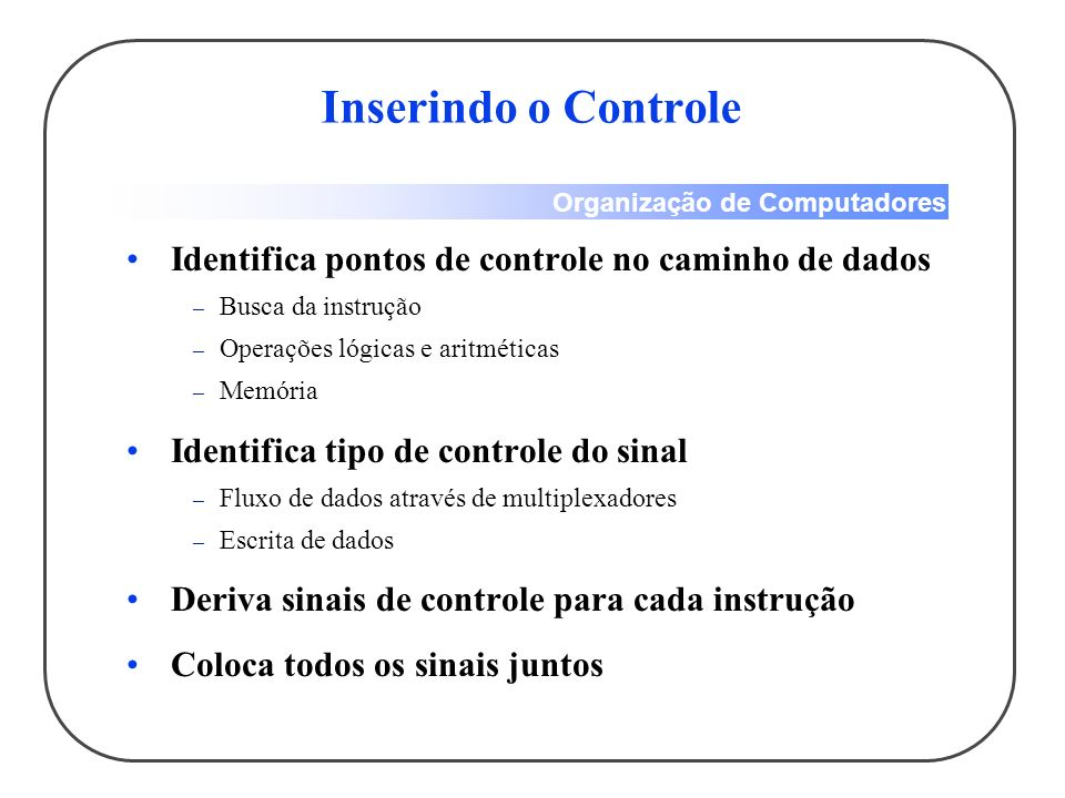 Organização de Computadores Inserindo o Controle Identifica pontos de controle no caminho de dados – Busca da instrução – Operações lógicas e aritméticas – Memória Identifica tipo de controle do sinal – Fluxo de dados através de multiplexadores – Escrita de dados Deriva sinais de controle para cada instrução Coloca todos os sinais juntos